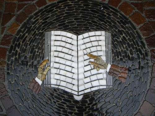Mosaic Book Symbol Image Stone Book Page Books