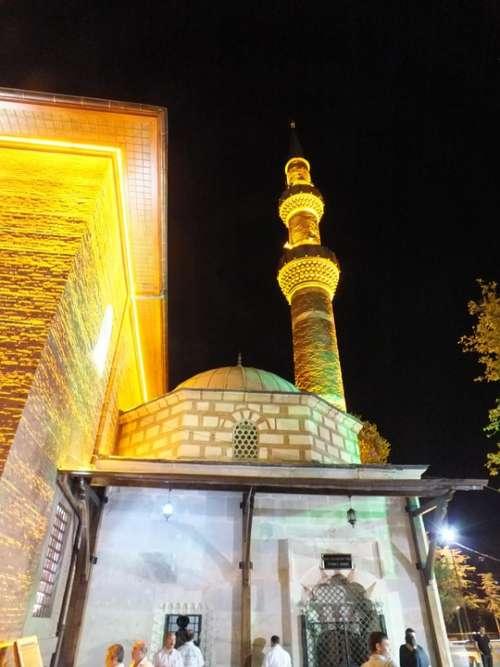 Mosque Minaret Night Architecture