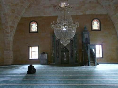Mosque Prayer Room Prayer Hall Man Sit Pray Islam