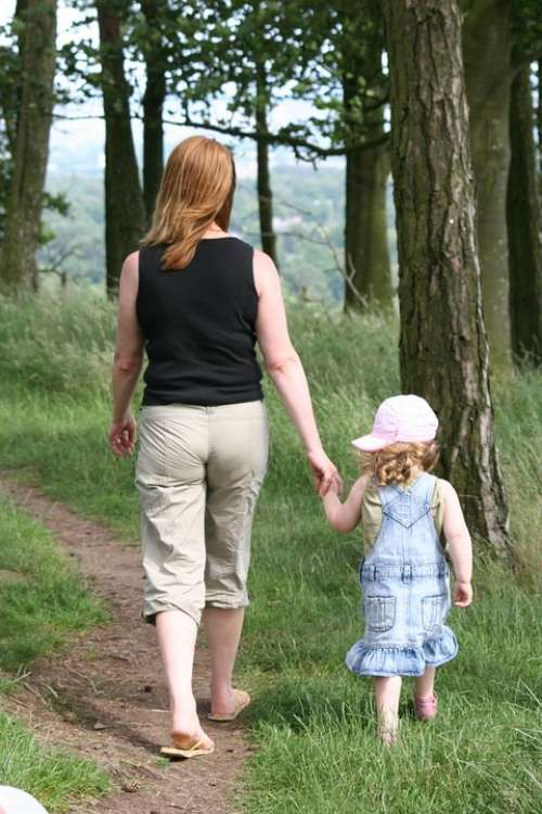 Mother Child Mom Walking Hand In Hand Strolling