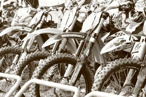 Motocross Motorcycle Terrain Sport Black And White