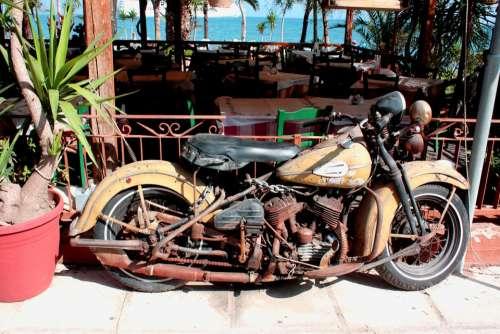 Motorcycle Harley Davidson Historically Old Corfu