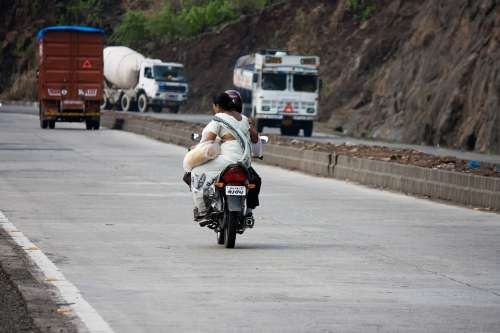 Motorcycle Bike Traffic India Transportation Road