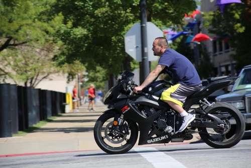 Motorcyclist Motorcycle Man Biker Riding Bike Bike