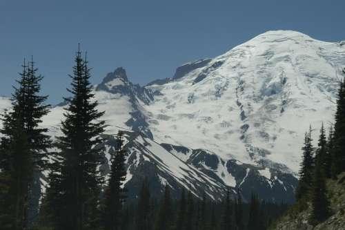 Mount Rainer Mountain Peak Washington Landscape