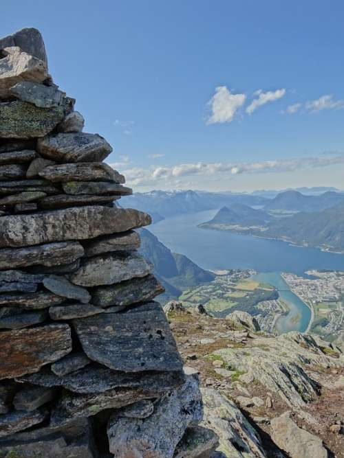 Mountain Nature Hiking Milestone Fjord Norway