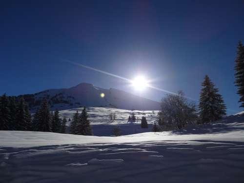 Mountain Alps Snow Sky Evening The Evening Sky