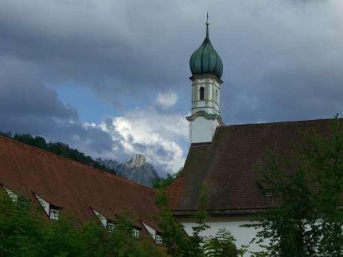 Mountain Säuling Light Dark Clouds Church