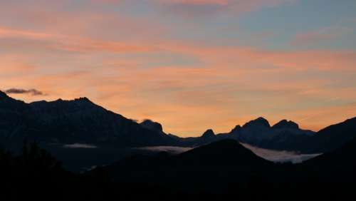 Mountain Landscape Sunrise Sky Panorama Morning