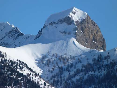 Mountain Snowy Winter Landscape Nature Summit
