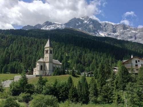 Mountain Sun Church Solda South Tyrol Ortler
