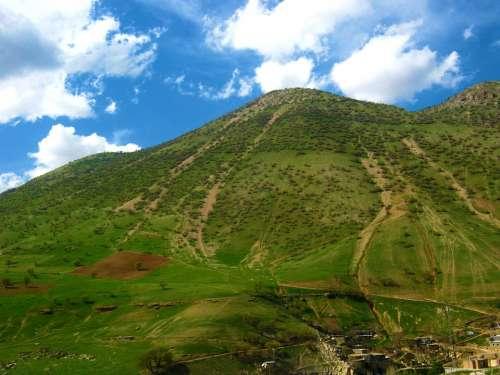 Mountain Sky Clouds Landscape Blue Grass