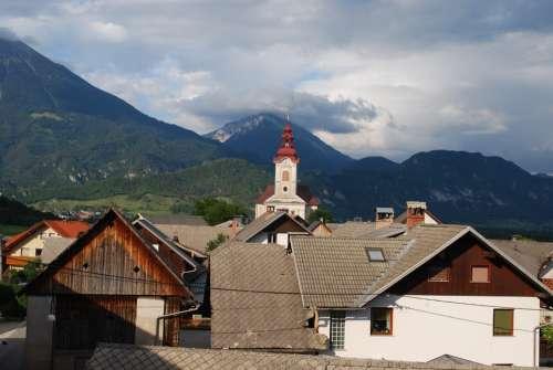 Mountain Church Steeple Slovenia Houses Town Sky