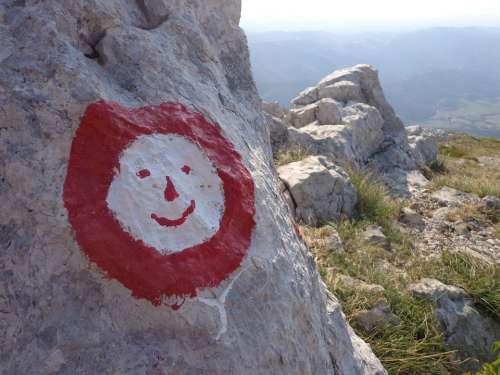 Mountain Sign Waymark Rock