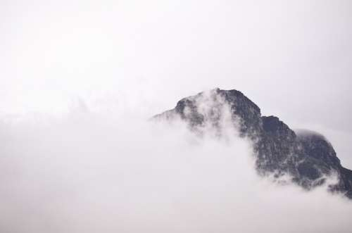 Mountain Summit Fog Misty Clouds Nature Landscape