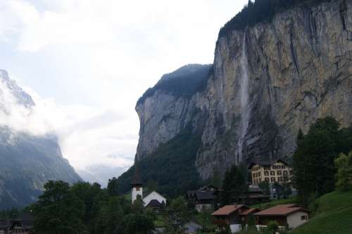 Mountain Switzerland Rock Waterfall House Village