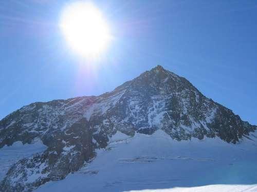 Mountain Panorama Stubai Winter Sunshine Mountain