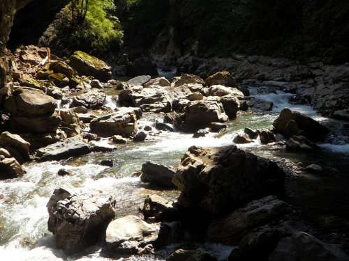 Mountain Stream Breitach Allgäu River Scree Rock