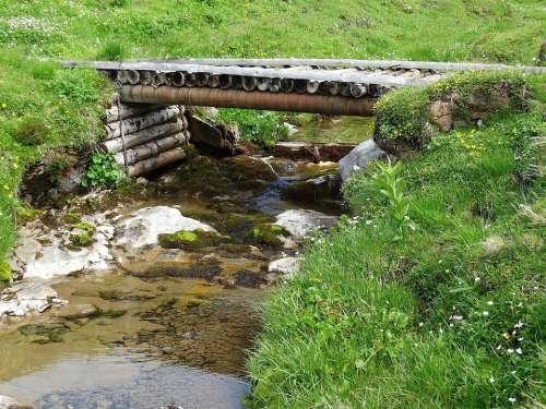 Mountain Stream Bridge Wooden Bridge Nature