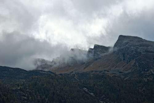 Mountains Mountain Pass Switzerland Clouds