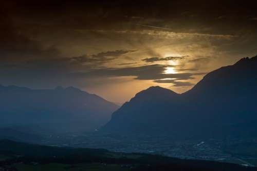 Mountains Sunset Alps Inn Valley Innsbruck Austria