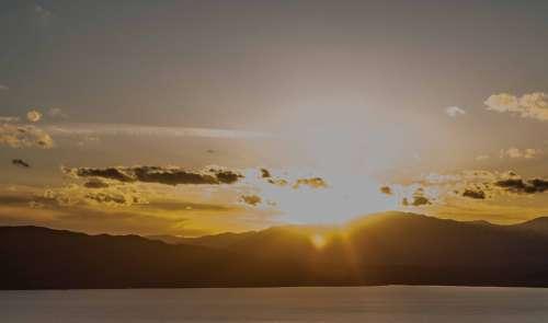 Mountains Sunset Utah Sky Landscape Travel