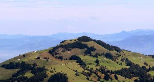 Mountains Alpine Swiss Alps Ebenalp Forests Green