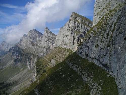 Mountains Alpine Churfirsten Switzerland Summit