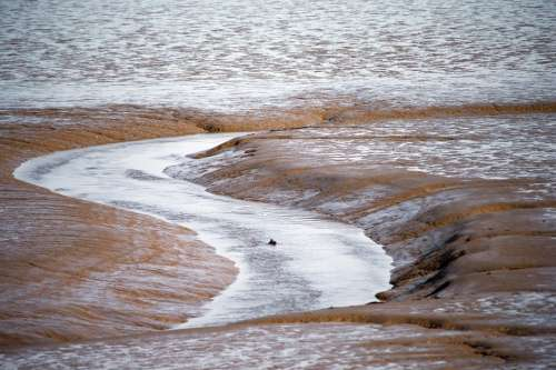 Mud Flats Eb Tide Thames Estuary Uk Low Tide Flow