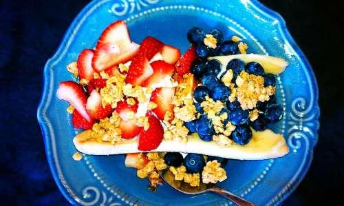 Muesli Blueberries Strawberries Food Fruit Yogurt