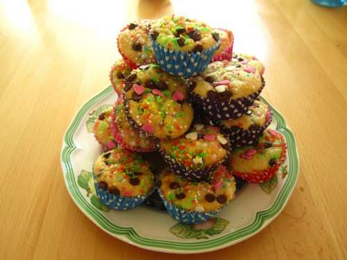 Muffins Colorful Baked Children'S Birthday Children