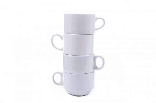 Mug Cup White Porcelain Front Close-Up Isolated