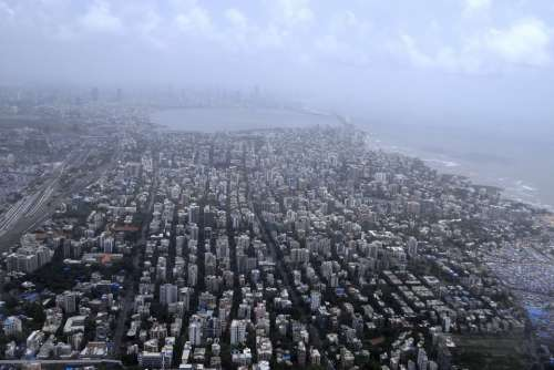 Mumbai Aerial View Sea Coast Arabian Sea India