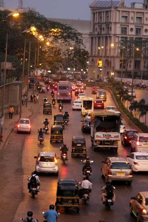 Mumbai Street City Traffic Rickshaws