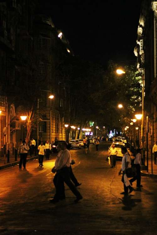 Mumbai Street Night People India City Urban