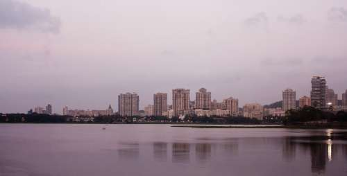 Mumbai Bombay Cityscape Metropole India Sea Ocean