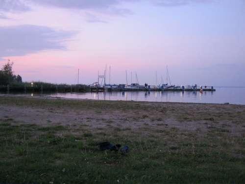 Müritz Lake Mecklenburg Paddle Evening Boats Port