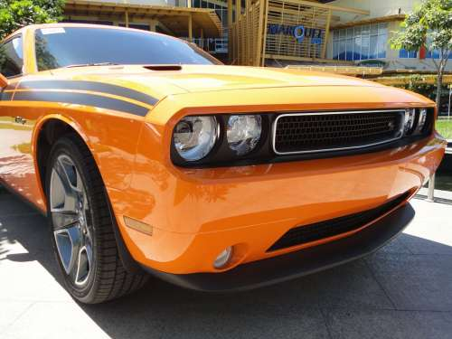 Muscle Car Challenger Orange Automobile Retro