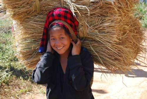 Myamar Girl Happy Bear Laugh Smile Asia Hay
