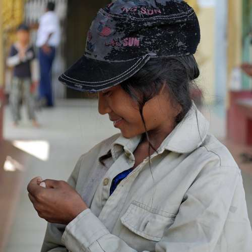 Myanmar Woman Child Student Shy Burma Girl
