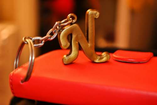 N Character Keyring Capital Letter Red Glossy