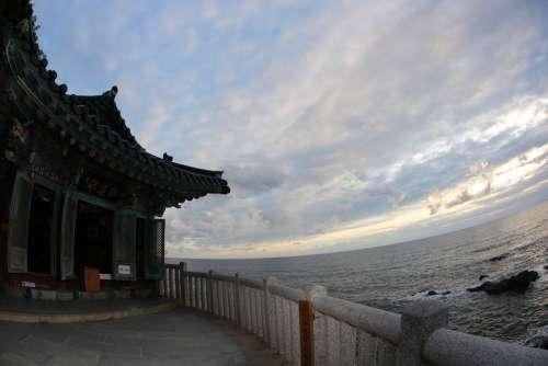 Naksansa Sky Sea Section Sunrise Gangwon Do Cliff