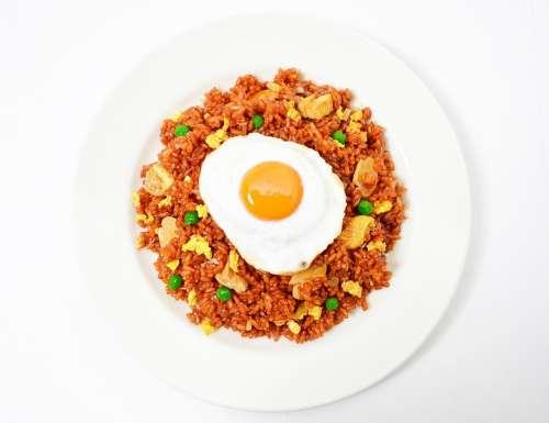 Nasi Goreng Fried Rice Fried Egg Food White Back