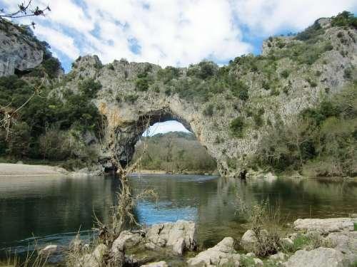 Natural Bridge Bridge France River Water Bank