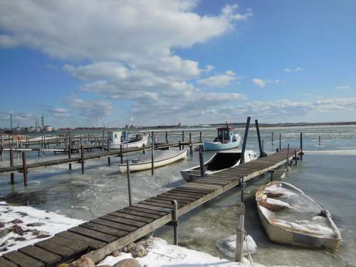 Natural Harbor Jetty Ice Water Winter Blue Sky