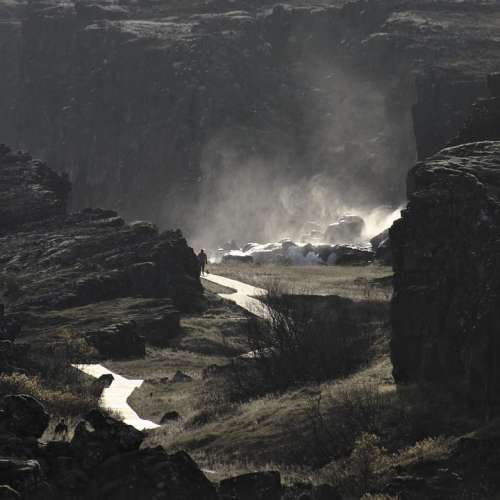 Nature Waterfall Water Rock Fault Iceland
