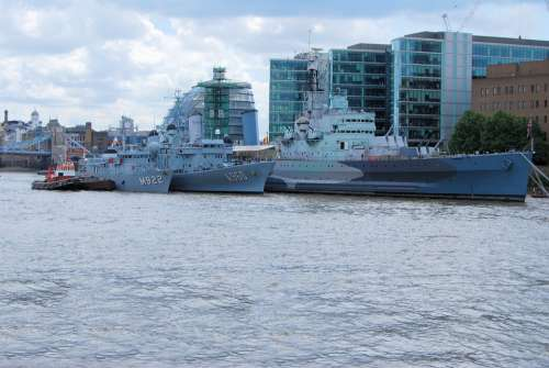 Navy Boats Ships Moored River London