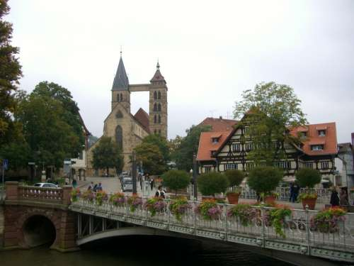 Neckar Canal Bridge City Church St Dani Fachwerkhaus