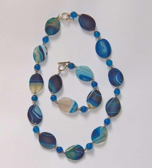 Necklace Agate Blue Bracelet Gemstone Jewelry