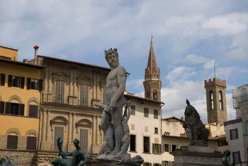 Neptune Florence Statue Italy Plaza Square